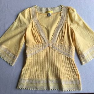 Catherine Malandrino Yellow Peasant Blouse
